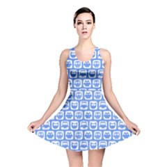 Blue And White Owl Pattern Reversible Skater Dresses