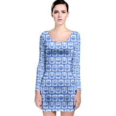 Blue And White Owl Pattern Long Sleeve Bodycon Dresses
