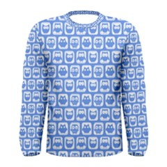 Blue And White Owl Pattern Men s Long Sleeve T-shirts