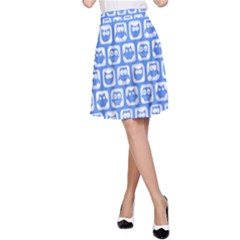 Blue And White Owl Pattern A-Line Skirts