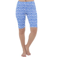 Blue And White Owl Pattern Cropped Leggings