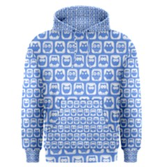 Blue And White Owl Pattern Men s Pullover Hoodies