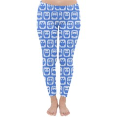 Blue And White Owl Pattern Winter Leggings