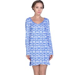 Blue And White Owl Pattern Long Sleeve Nightdresses