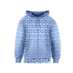 Blue And White Owl Pattern Kids Zipper Hoodies