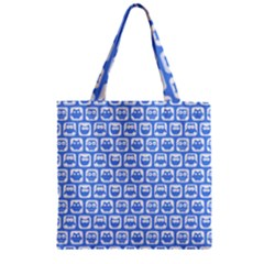 Blue And White Owl Pattern Zipper Grocery Tote Bags