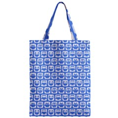 Blue And White Owl Pattern Zipper Classic Tote Bags