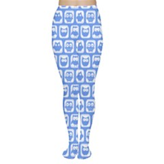 Blue And White Owl Pattern Women s Tights