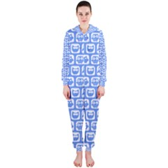 Blue And White Owl Pattern Hooded Jumpsuit (Ladies)