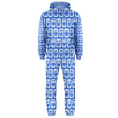 Blue And White Owl Pattern Hooded Jumpsuit (Men)