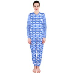 Blue And White Owl Pattern OnePiece Jumpsuit (Ladies)