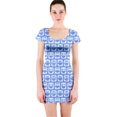 Blue And White Owl Pattern Short Sleeve Bodycon Dresses
