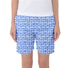 Blue And White Owl Pattern Women s Basketball Shorts