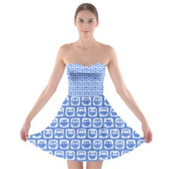 Blue And White Owl Pattern Strapless Bra Top Dress