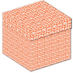 Coral And White Owl Pattern Storage Stool 12