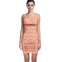 Coral And White Owl Pattern Bodycon Dresses
