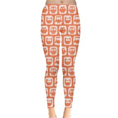 Coral And White Owl Pattern Women s Leggings