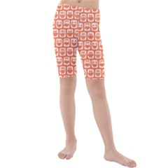 Coral And White Owl Pattern Kid s swimwear