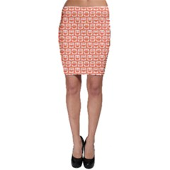 Coral And White Owl Pattern Bodycon Skirts
