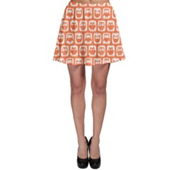 Coral And White Owl Pattern Skater Skirts