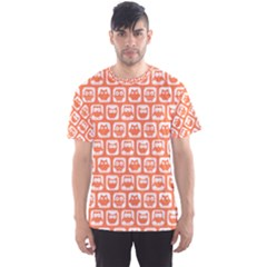 Coral And White Owl Pattern Men s Sport Mesh Tees
