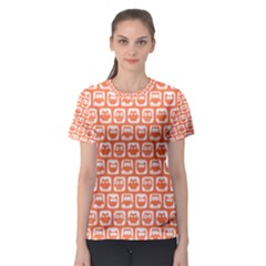 Coral And White Owl Pattern Women s Sport Mesh Tees