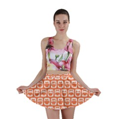 Coral And White Owl Pattern Mini Skirts