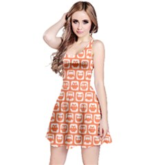 Coral And White Owl Pattern Reversible Sleeveless Dresses