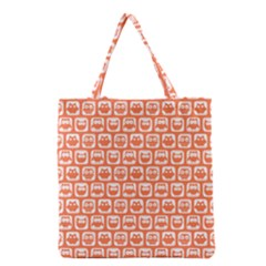 Coral And White Owl Pattern Grocery Tote Bags