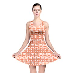 Coral And White Owl Pattern Reversible Skater Dresses