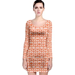 Coral And White Owl Pattern Long Sleeve Bodycon Dresses