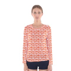 Coral And White Owl Pattern Women s Long Sleeve T-shirts