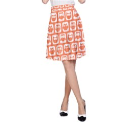 Coral And White Owl Pattern A-Line Skirts