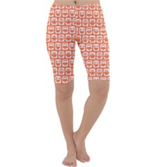 Coral And White Owl Pattern Cropped Leggings