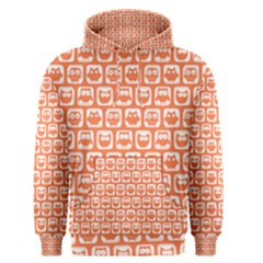 Coral And White Owl Pattern Men s Pullover Hoodies