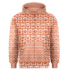 Coral And White Owl Pattern Men s Zipper Hoodies