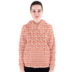 Coral And White Owl Pattern Women s Zipper Hoodies