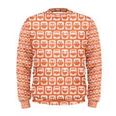 Coral And White Owl Pattern Men s Sweatshirts