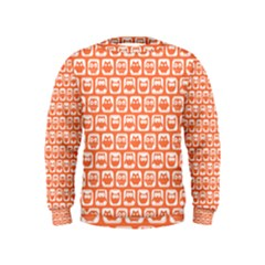 Coral And White Owl Pattern Boys  Sweatshirts