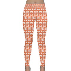 Coral And White Owl Pattern Yoga Leggings