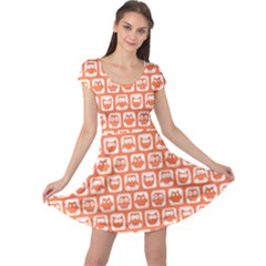 Coral And White Owl Pattern Cap Sleeve Dresses