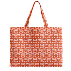 Coral And White Owl Pattern Zipper Tiny Tote Bags
