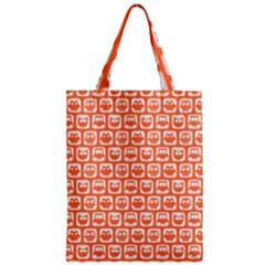 Coral And White Owl Pattern Zipper Classic Tote Bags