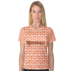 Coral And White Owl Pattern Women s V-Neck Sport Mesh Tee