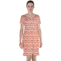 Coral And White Owl Pattern Short Sleeve Nightdresses