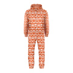 Coral And White Owl Pattern Hooded Jumpsuit (Kids)