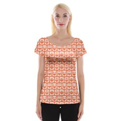 Coral And White Owl Pattern Women s Cap Sleeve Top
