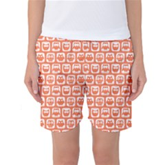 Coral And White Owl Pattern Women s Basketball Shorts