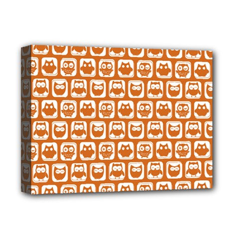 Orange And White Owl Pattern Deluxe Canvas 16  x 12