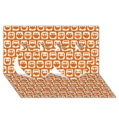 Orange And White Owl Pattern Twin Hearts 3D Greeting Card (8x4)